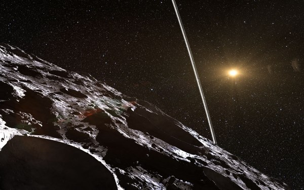 Artist's impression of the view from the asteroid Chariklo. Credit: ESO/L. Calçada/Nick Risinger (skysurvey.org)