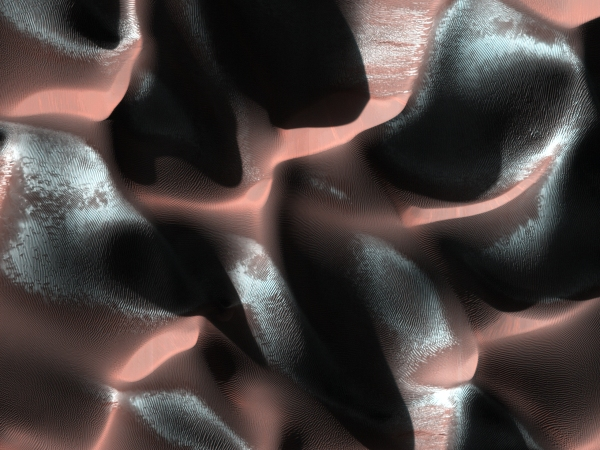 HiRISE image of frosty Martian dunes acquired on Jan. 24, 2014 (NASA/JPL/University of Arizona)