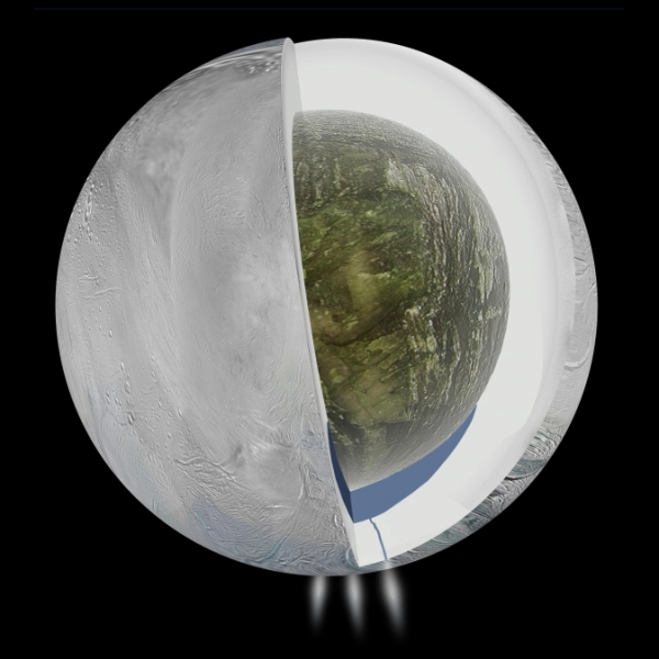 A concept of the subsurface structure of Saturn's moon Enceladus (NASA/JPL-Caltech)