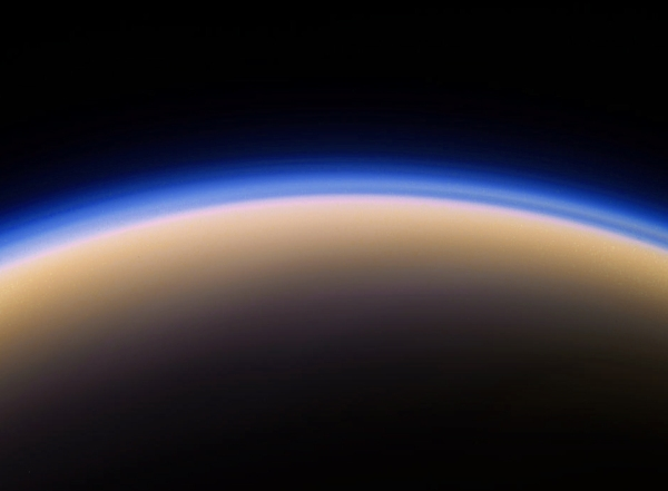 Color-composite of Titan made from raw images acquired by Cassini on April 7, 2014. (NASA/JPL-Caltech/SSI/J. Major)