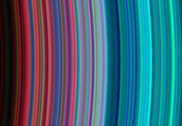 Ultraviolet image of Saturn's rings acquired by Cassini in 2004 (NASA/JPL-Caltech/University of Boulder)