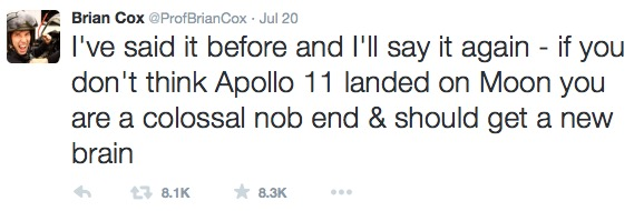 Prof. Brian Cox's tweet to all the Moon hoaxers