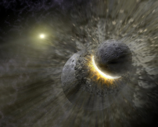 "The ""Giant Impact"" hypothesis has the Moon formed from an impact between early Earth and a Mars-sized body (NASA)"
