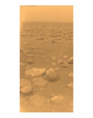 The surface of Titan seen by the Huygens probe in 2005 (ESA/NASA/JPL)