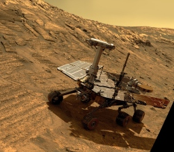 A simulated view of Opportunity on Mars (NASA/JPL-Caltech)