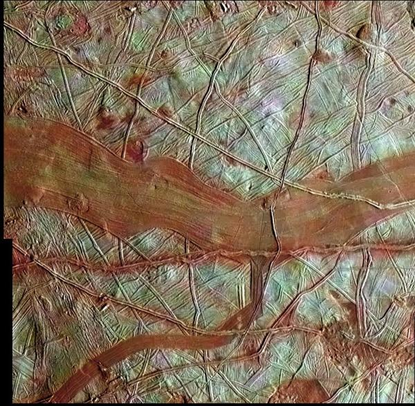 A newly-released image of Europa's surface captured by Galileo (NASA/JPL)