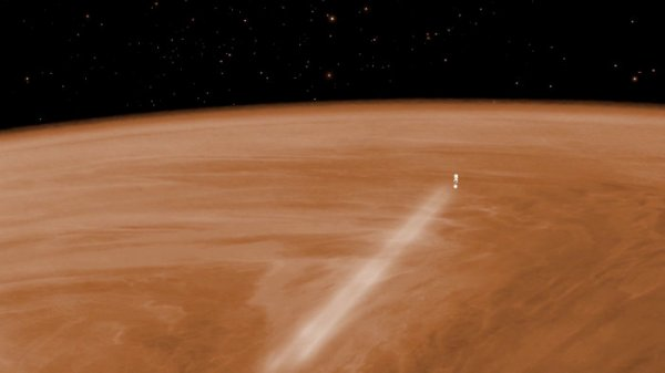 Illustration of ESA's Venus Express aerobraking in Venus' upper atmosphere (ESA)