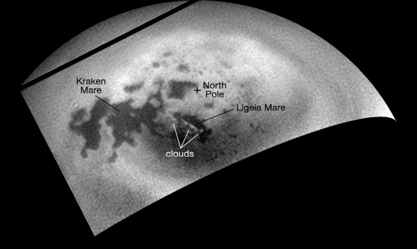 Labeled image of Titan's north polar region (NASA/JPL-Caltech/SSI)