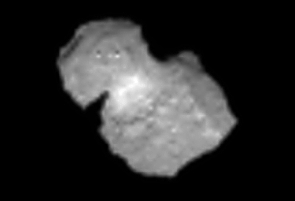 Comet 67P/C-G imaged by Rosetta's NAVCAM on July 31, 2014 (post-processed)
