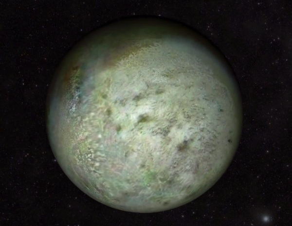 Neptune's moon Triton as seen by NASA's Voyager 2 spacecraft in August 1989 (Screenshot; NASA/JPL-Caltech/LPI)
