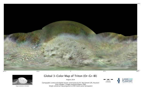 Map of Triton made from images acquired by Voyager 2 on Aug. 25, 1989. (Credit: NASA/JPL-Caltech/Lunar & Planetary Institute)