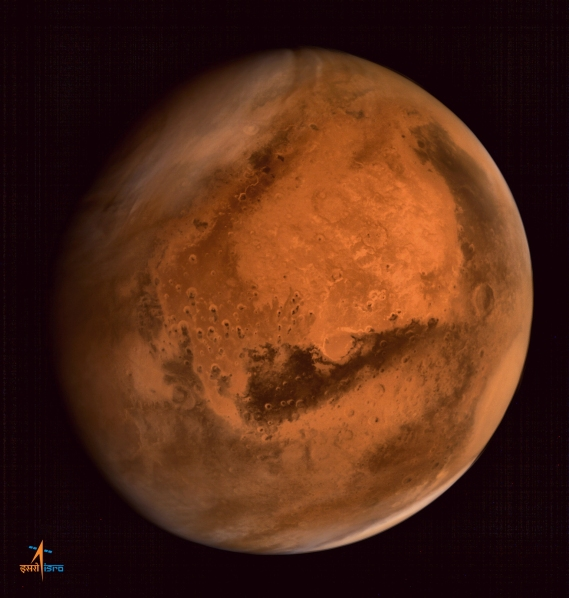 Image from India's Mars Orbiter Mission's Mars Colour Camera (Credit: ISRO)