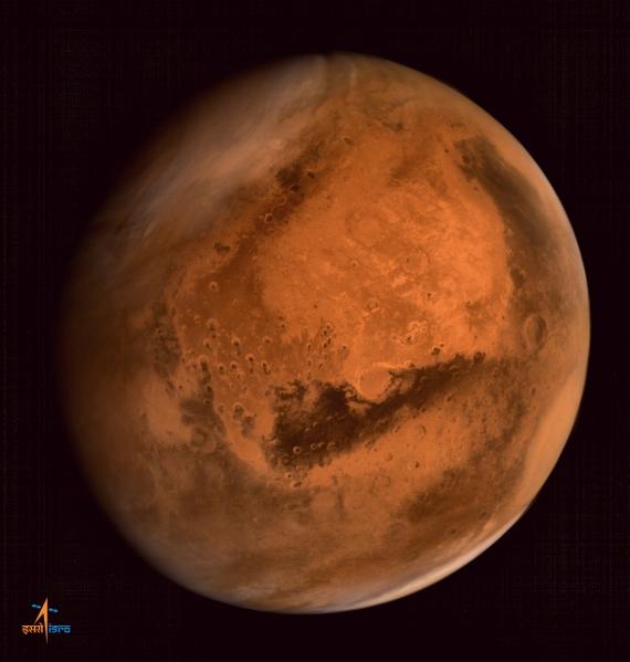 Image from India's Mars Orbiter Mission's Mars Colour Camera (Credit: ISRO)
