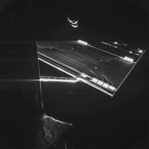 Part of ESA's Rosetta and comet 67P/C-G taken by the Philae lander on Sept. 7, 2014 (ESA/Rosetta/Philae/CIVA)