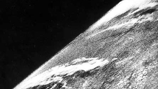 The first photo of Earth from space was taken on Oct. 24, 1946 (Credit: White Sands Missile Range/Applied Physics Laboratory. HT to Smithsonian Air & Space.)