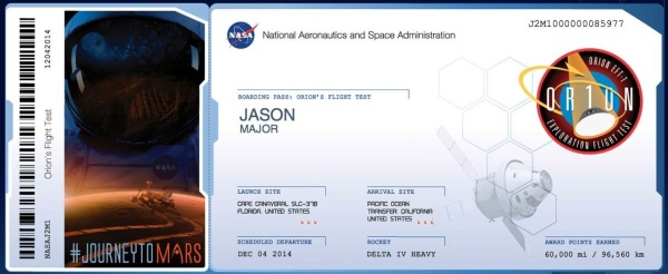 I have my boarding pass for EFT-1 and NASA's Journey to Mars! (Hope I get a window seat.)