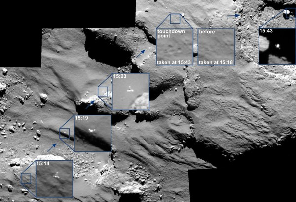 Rosetta's OSIRIS camera spotted Philae's journey across the surface of 67P (ESA/Rosetta/MPS for OSIRIS Team MPS/UPD/LAM/IAA/SSO/INTA/UPM/DASP/IDA)