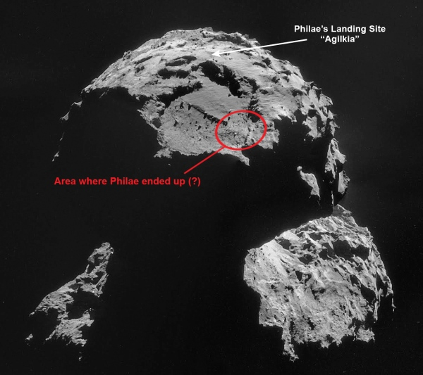 Philae's final location is somewhere in the red circle, based on current estimates. (Original image credit ESA/Rosetta/NAVCAM. Edit by J. Major)