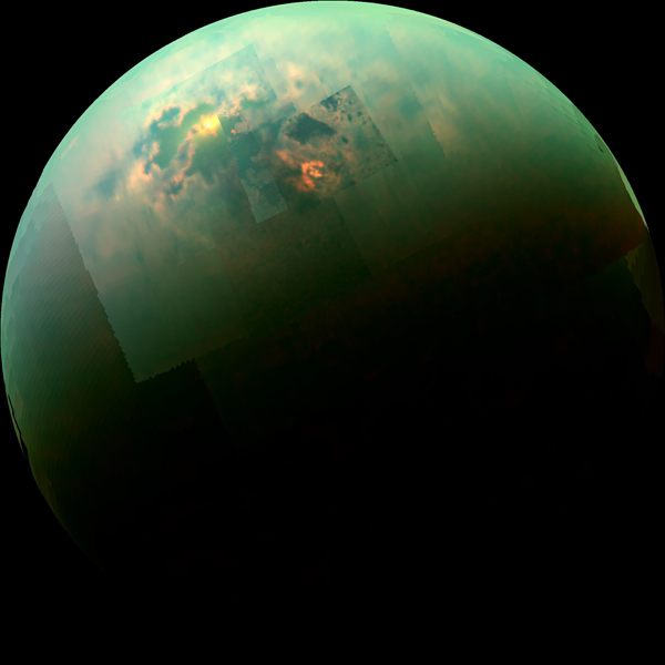 Infrared mosaic image showing sunglint off Titan's Kraken Mare. (NASA/JPL-Caltech/University of Arizona/University of Idaho)