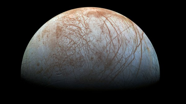 A newly-reprocessed color view of Europa made from images taken by NASA's Galileo spacecraft in the late 1990s. Image credit: NASA/JPL-Caltech/SETI Institute