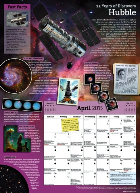 Each month features a different space theme along with a metric ton of info! (I measured.)