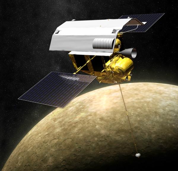 Artist's rendering of MESSENGER in orbit around Mercury. (NASA/JOHNS HOPKINS UNIVERSITY APPLIED PHYSICS LABORATORY/CARNEGIE INSTITUTION OF WASHINGTON)