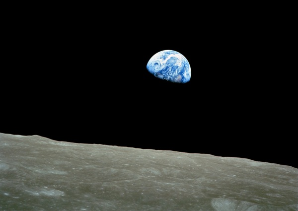 """Earthrise"" from Apollo 8, December 24, 1968 (NASA)"