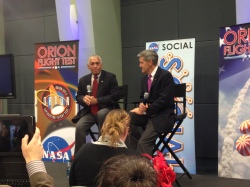 Charles Bolden and Bob Cabana speak to the NASA Social at KSC (Jason Major)