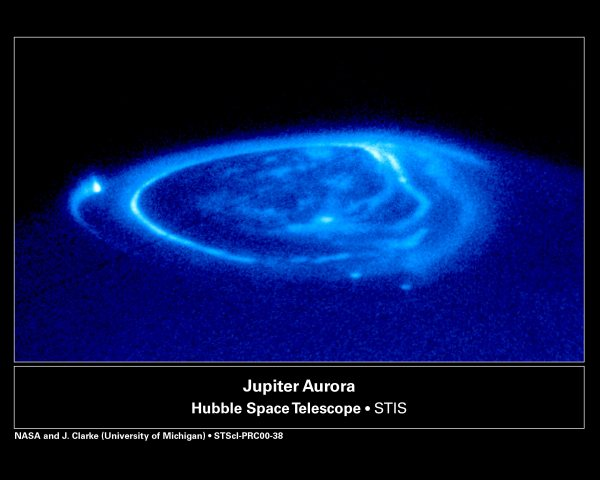 UV image of Jupiter taken with the Hubble Space Telescope Imaging Spectrograph (STIS) on November 26, 1998. (NASA/ESA, John Clarke (University of Michigan))