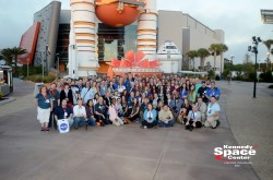 The NASA Social group at the KSC Visitor Center Atlantis exhibit