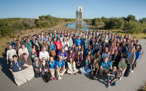 The attendees of the EFT-1 NASA Social in front of Launch Complex 37 at Cape Canaveral AFS (NASA)