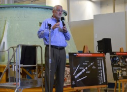 A presentation at ATK's Booster Fabrication Facility, where the SLS rockets are being built. (J. Major)