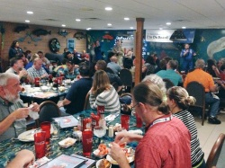 NASA Social attendees gathered for dinner at Dixie Crossroads