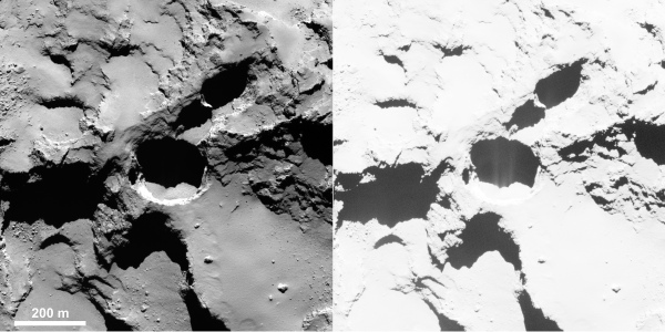 Active pit detected in Seth region of 67P. This is an OSIRIS narrow-angle camera image acquired on Aug. 28, 2014 from a distance of 60 km. The image resolution is 1 m/pixel. Enhancing the contrast (right) reveals fine structures in the shadow of the pit, interpreted as jet-like features rising from the pit. Credits: ESA/Rosetta/MPS for OSIRIS Team MPS/UPD/LAM/IAA/SSO/INTA/UPM/DASP/IDA