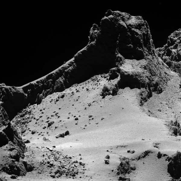 A section of the smaller of 67P's two lobes as seen by OSIRIS' narrow-angle camera from a distance of about 8km on October 14, 2014. The resolution is 15 cm/pixel. Credit: ESA/Rosetta/MPS for OSIRIS Team MPS/UPD/LAM/IAA/SSO/INTA/UPM/DASP/IDA