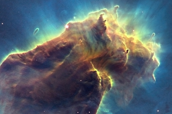 "High-resolution detail of the topmost ""pillar."" Credit: NASA, ESA, and the Hubble Heritage Team (STScI/AURA)."