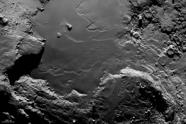 "A flat region on 67P's ""underside"" called Imhotep. Credits: ESA/Rosetta/MPS for OSIRIS Team MPS/UPD/LAM/IAA/SSO/INTA/UPM/DASP/IDA"