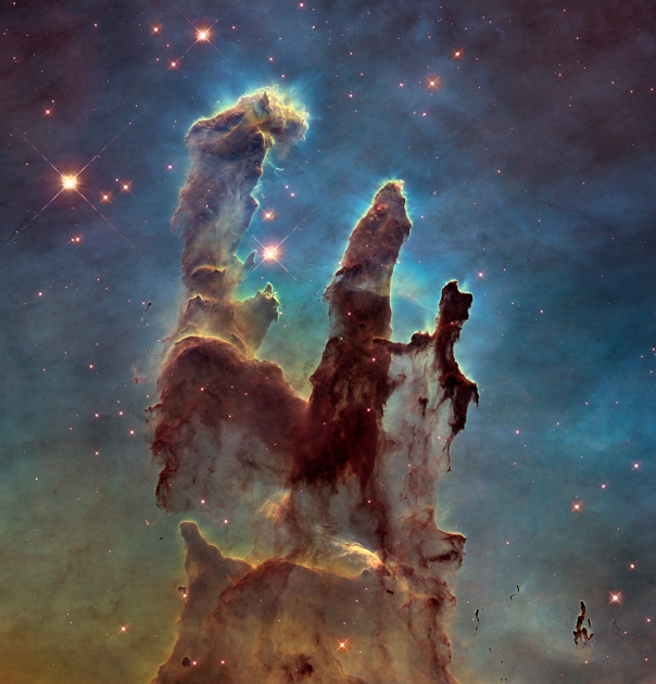 Hubble's newest visible-light image of the Pillars of Creation in the Eagle Nebula. Credit: NASA, ESA, and the Hubble Heritage Team (STScI/AURA)