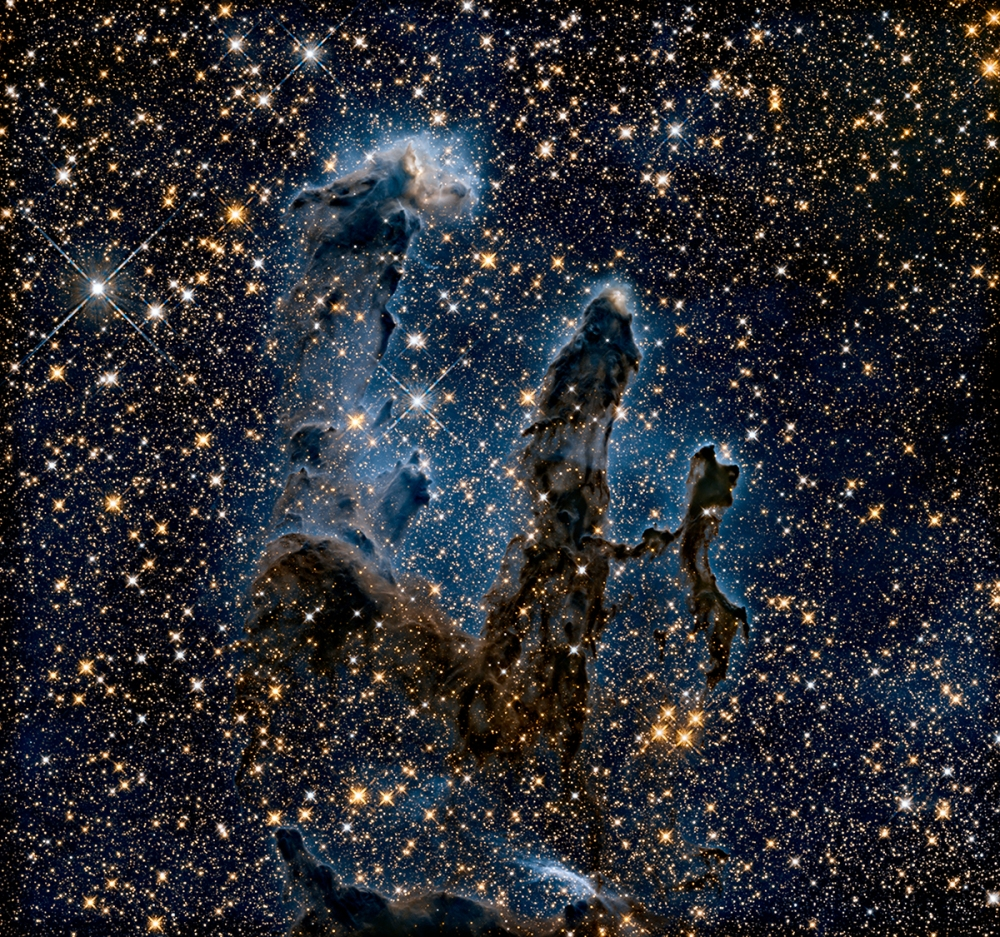 New, near-infrared image of the Pillars of Creation. Credit: NASA, ESA, and the Hubble Heritage Team (STScI/AURA)