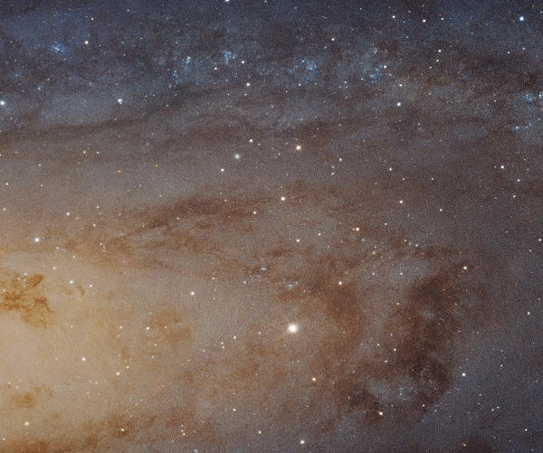 A crop of Hubble's newest image of the Andromeda Galaxy (M31). Credit: NASA, ESA, J. Dalcanton, B.F. Williams, and L.C. Johnson (University of Washington), the PHAT team, and R. Gendler.