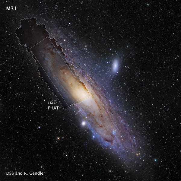 Hubble Space Telescope M31 PHAT mosaic image shown in context with a ground-based image of the Andromeda Galaxy (M31).  Credit: NASA, ESA, and Z. Levay (STScI/AURA)