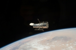 Hubble seen from STS-125 in May 2009 (NASA)
