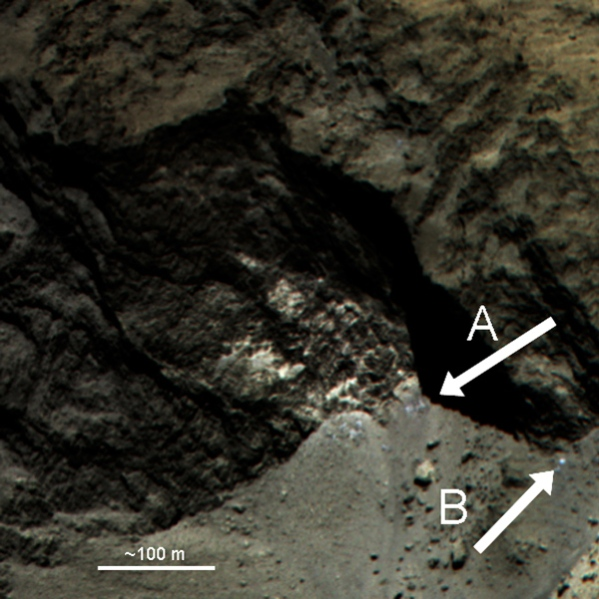 Color-composite of an alcove at the Hathor–Anuket boundary. The surface of the consolidated material in the alcove contains distinct spots of brighter material. On the floor beneath, material 20% brighter and bluer than the surroundings can also be seen (e.g. A and B), and may be evidence of recently exposed ice. The color image was created from the red, green and blue filters (central wavelengths of (882, 700 and 481 nm, respectively) of the OSIRIS narrow-angle camera.