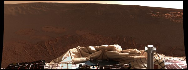 24-image mosaic of Pancam images made shortly after Opportunity's landing on Jan. 25, 2004. (NASA/JPL)