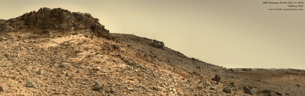 Mosaic of Mastcam images acquired by Curiosity on Dec. 21, 2014