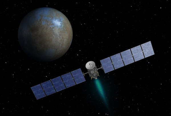Artist's impression of Dawn's approach to Ceres. (NASA/JPL-Caltech)