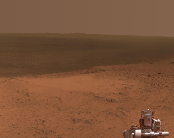 A view captured by NASA's Opportunity rover from the rim of Endeavour crater on Jan. 6, 2015 (NASA/JPL-Caltech/Cornell Univ./Arizona State University)