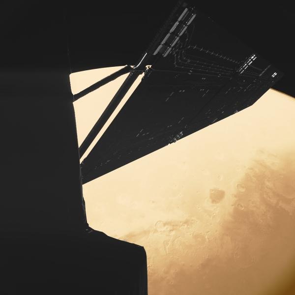"""Selfie"" of Rosetta captured as it passed Mars in Feb. 2007"