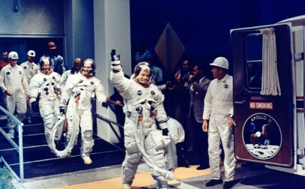 Neil Armstrong leading the Apollo 11 crew to the Astrovan on July 16, 1969 (NASA/KSC)