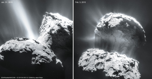 The nucleus of comet 67P/C-G as seen by Rosetta on Jan. 31(L) and Feb. 3 (R), 2015. Credits: ESA/Rosetta/NAVCAM – CC BY-SA IGO 3.0. Edited by Jason Major.